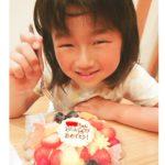 7才のおたんじょうび❤️ ちょうちょがのった、生チョコケーキで祝いいただきました♪