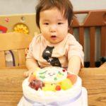 ワンワンのケーキで生まれて初めてのお誕生日❤