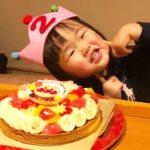アンパンマンケーキで2歳のお誕生日^_^